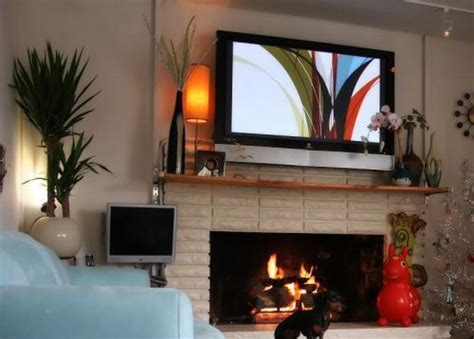 Living Room with TV above Fireplace Ideas