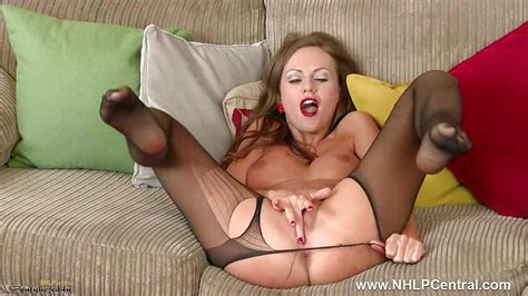 Brunette Milf Plays With Sweet Pussy In Nylon Pantyhose