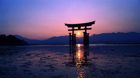 japan sunset purple evening  ipad air hd