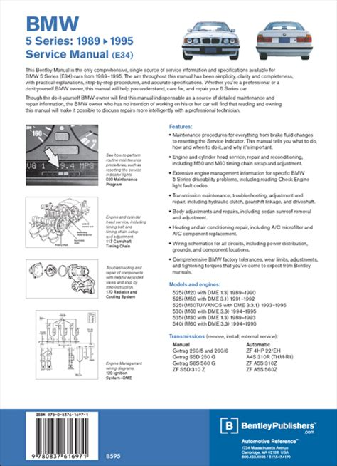 car repair manuals online pdf 1989 bmw 6 series electronic valve timing back cover bmw repair manual 5 series e34 1989 1995 bentley publishers repair manuals
