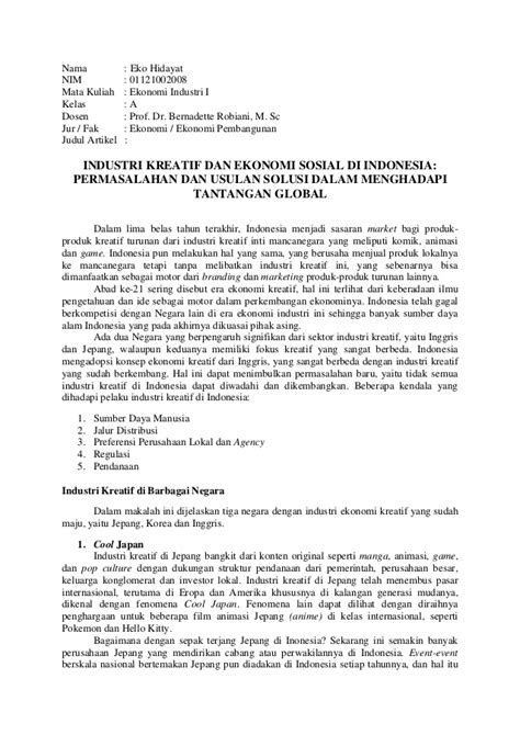 Resume Artikel INDUSTRI KREATIF DAN EKONOMI SOSIAL DI