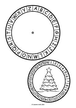 christmas secret code wheel alphabet numbers ordered