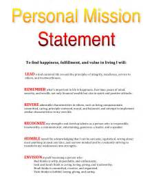 Mission Statement Exles by My Personal Mission Statement Leadtoday