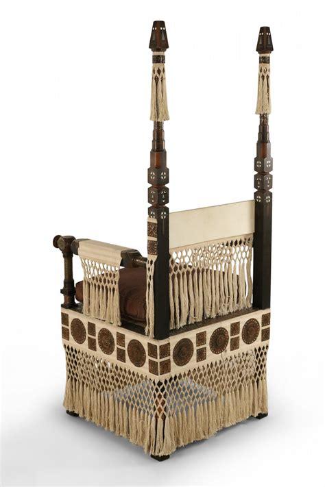 041015 carlo bugatti wood brass bone throne chair. Carlo Bugatti Italian Art Deco Mahogany and Copper Fringed Throne Chair