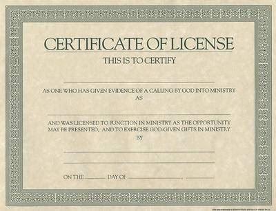 certificate license  minister cokesbury