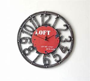 Horloge Murale Rouge : horloge murale style loft rouge d coindustriel ~ Teatrodelosmanantiales.com Idées de Décoration
