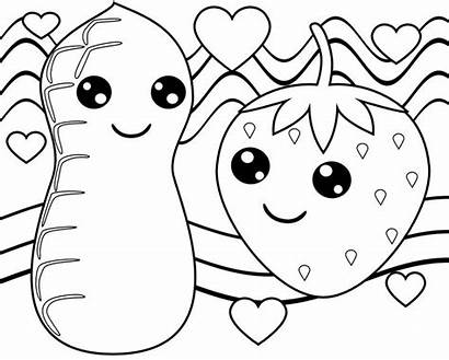 Coloring Pages Kawaii Fruits Strawberry Peanut Ice