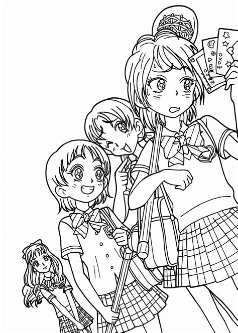 Coloring Books Anime Awesome Anime Girls Group Coloring