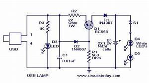 Usb Led Lamp Circuit Using 5 Volts Using Bc558 Transitor