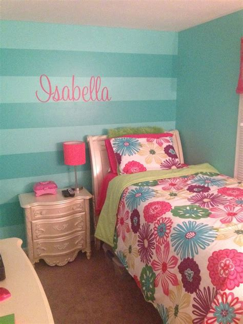 girls teal stripe wall and isabella wall decal from etsy