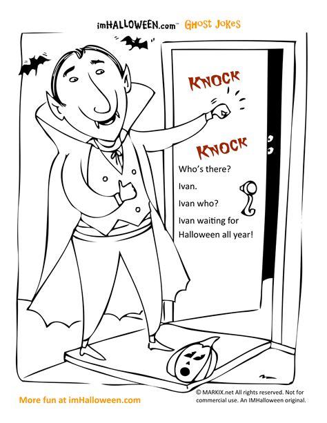 vampire halloween knock knock joke coloring page