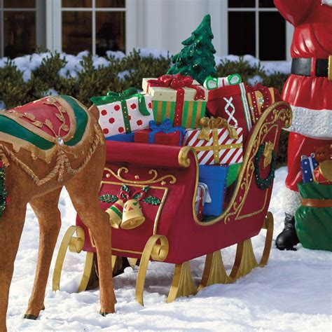 sleigh decorations fiber optic sleigh frontgate outdoor christmas decorations traditional outdoor holiday