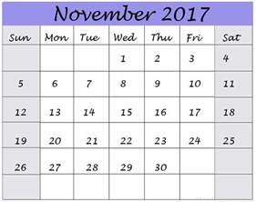 Printable Monthly Calendar November 2017