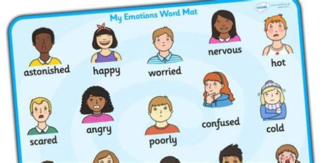 emotions word mat word mat writing aid emotions