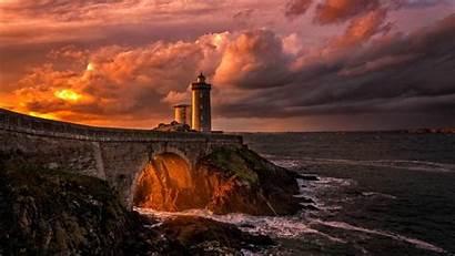Lighthouse France Sunset Sea Bridge Landscape Petit