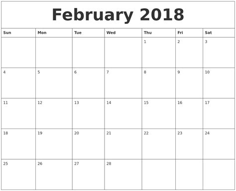 Monthly Calendar Template 2018 February 2018 Blank Monthly Calendar Template