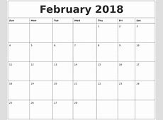 February 2018 Calendar Cute yearly printable calendar