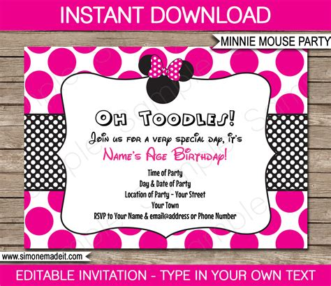 minnie mouse party printables invitations decorations