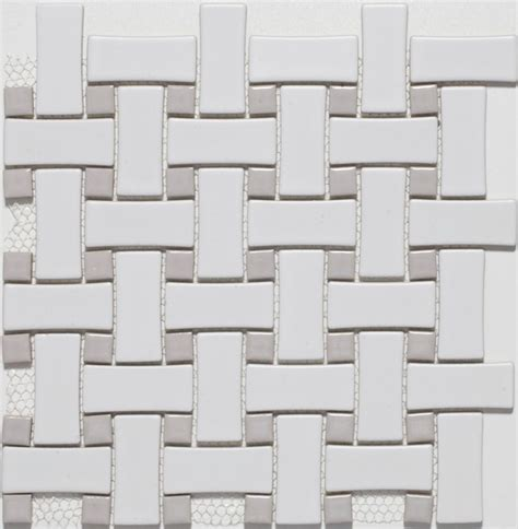 ceramic white grey basketweave mosaic tiles contemporary