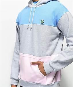 Cross Colours Mens Hoodies u0026 Sweatshirts - Grey Blue u0026 Pink Colorblock Hoodie Light/Pastel Blue ...