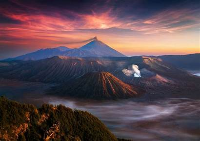 Indonesia Landscape Volcano Mountain Sunrise Nature Mist