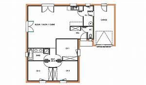 plan maison 90m2 gratuit With plan de maison 90m2 plain pied