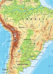 Free Print Map Physical Map South America
