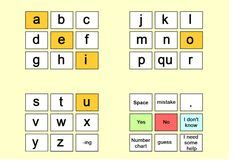aeiou board  colored rows  scanning communication