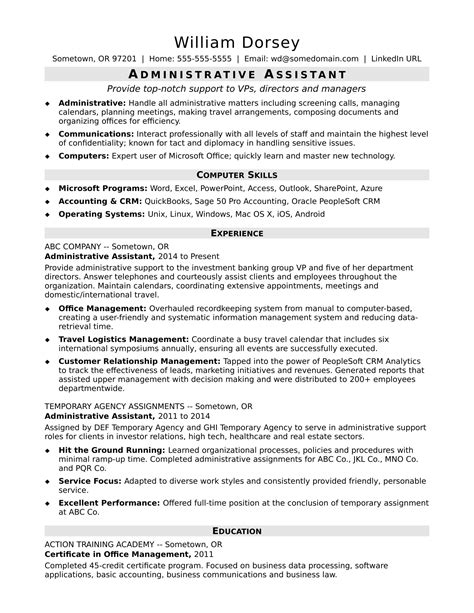 Exle Of Administrative Assistant Resume by Administrative Assistant Resume Sle Professional