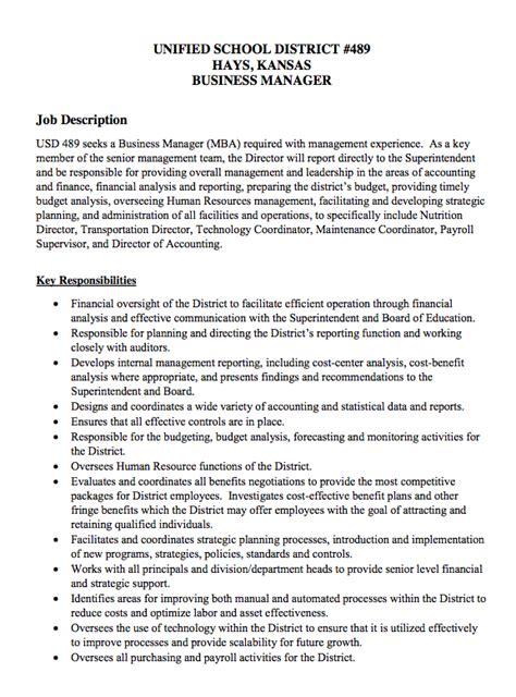 usd 489 finance manager description