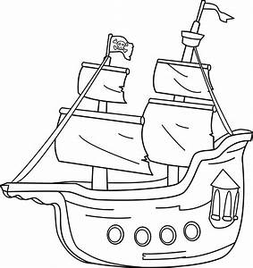 Pirate Ship Coloring Page - Free Clip Art