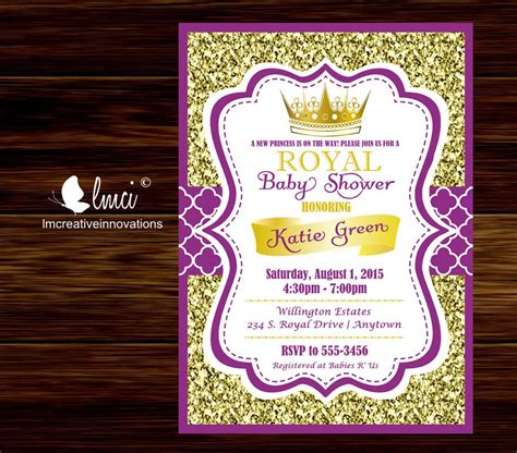 purple  gold royal baby shower invitation  princess