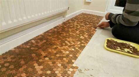 kitchen floor made of pennies creates kitchen floor with one pence pennies uk 8070