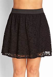 Forever 21 Floral Lace Skater Skirt in Black   Lyst