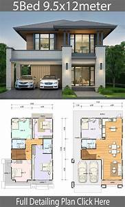House, Design, Plan, 9, 5x12m, With, 5, Bedrooms