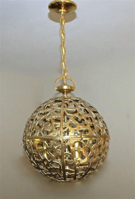 japanese pendant light large pierced filigree brass japanese asian ceiling