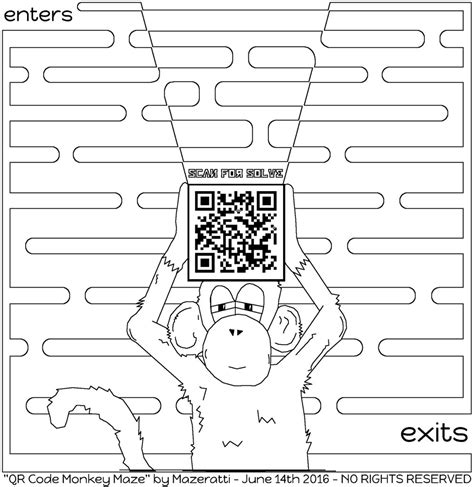 qr code monkey maze coloring coloring  grown ups page