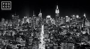 Panoramic Cityscape of Manhattan at Night
