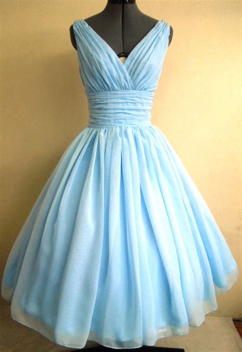 light blue vintage dress 50s style dress simple and elegant light kky blue by