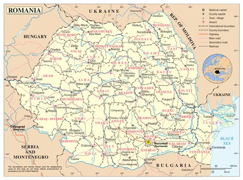 large detailed political  administrative map  romania