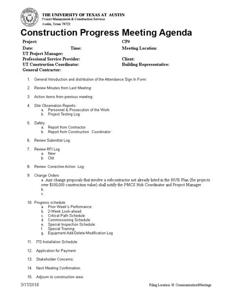construction progress meeting agenda templates