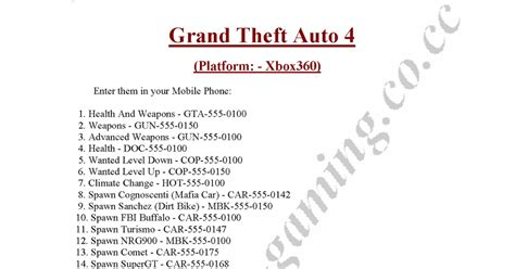 grand theft auto 5 cheats xbox 360 phone numbers gallery gta 4 xbox 360 cheats cheatcodes modification walkthrough for