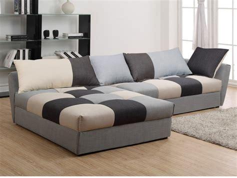 canapé original canapé angle convertible en tissu gris ou chocolat romane