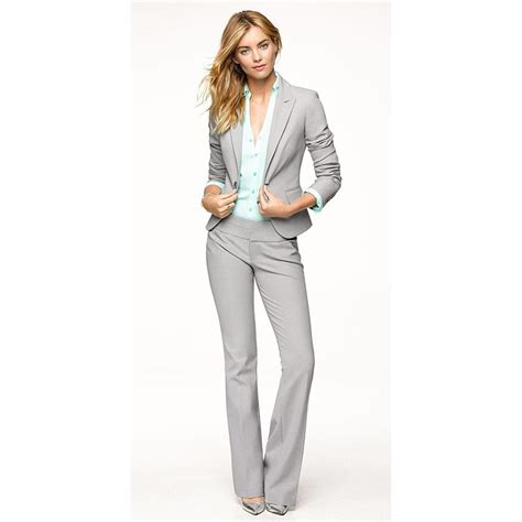 Light Gray Women Pants Suits Blazer Business Work Wear Uniforms Ladies Pant Suits Trouser Suit ...