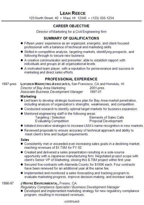 Civil Engineering Objective Resume by Resume Director Of Marketing For Civil Engineering Firm