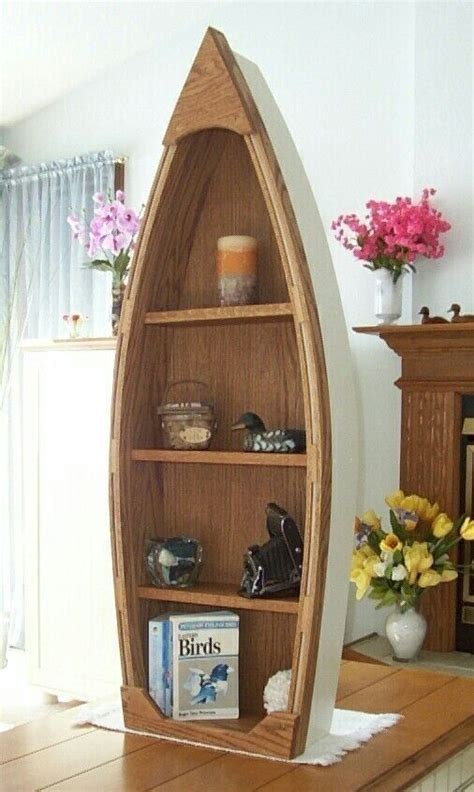 Canoe Boat Bookshelf by Handcrafted 4 Foot Wood Row Boat Bookcase Shelf Shelves