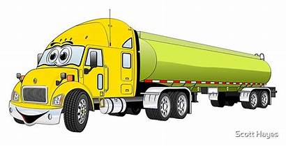 Cartoon Truck Semi Yellow Tanker Redbubble