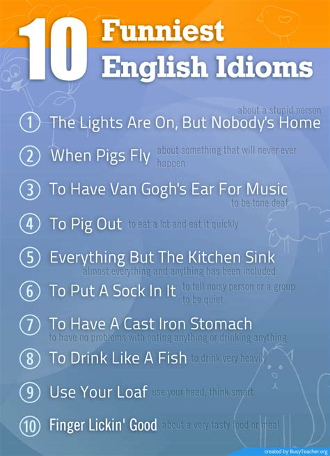 funniest english idioms poster