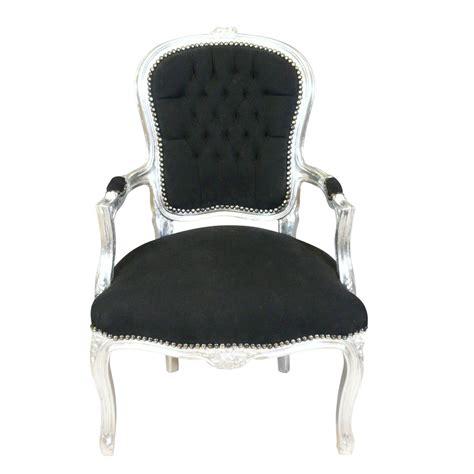 fauteuil baroque louis xv noir et argent pas cher