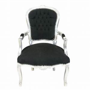 Fauteuil Pas Cher : fauteuil baroque louis xv noir et argent pas cher ~ Teatrodelosmanantiales.com Idées de Décoration
